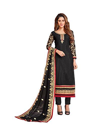 Salwar Suit Women's Faux Georgette Black Embroidery Gown Latest Party Wear Designe...