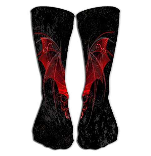 Outdoor Sports Men Women High Socks Stocking red Dragon Wings Decorated Pattern Black Textural Background Paintings Tile Length 19.7
