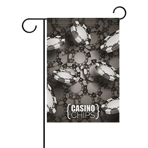 DEZIRO Casino Chips Dark Yard Flag Custom Garden Flag Double Side, Polyester, 1, 12x18(in)