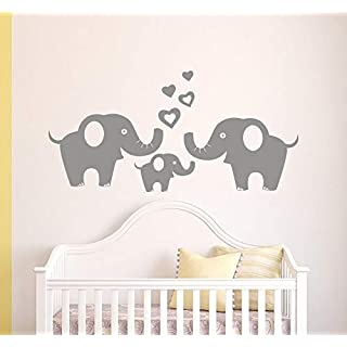 anber Elephant Family Wall Decals Removable Vinyl Wall Sticker Elephant Wall Decorative Unisex Wall Sticker for Baby Nursery Kids Room, Grey