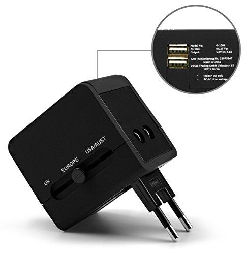 MyGadget Universal Travel Reiseadapter - 2 USB Ports für 150 Länder (UK, USA, EU, AU) - Reise Steckdosen Adapter für u.a. England, Thailand, Australien