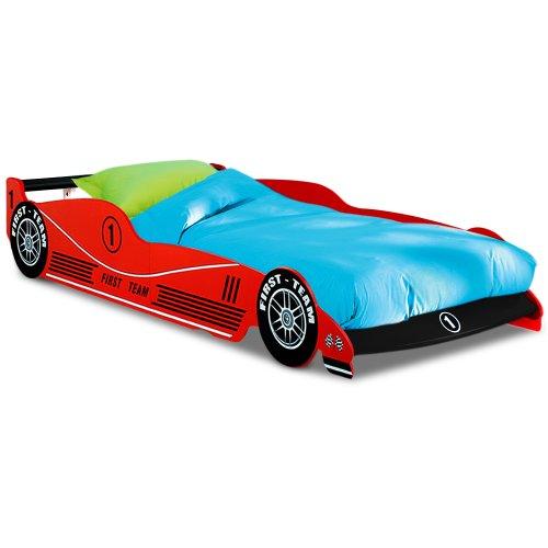 Deuba Lit enfant Voiture Formule 1 F1 Rouge - 90 cm x 200 cm - Sommier inclus - Chambre