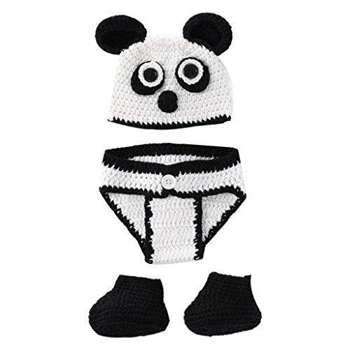 Hose + Schuhe Kinder Stricken häkeln Kleidung Kostüm Foto Fotografie Requisiten Outfit (0-6 Monate, Panda) ()