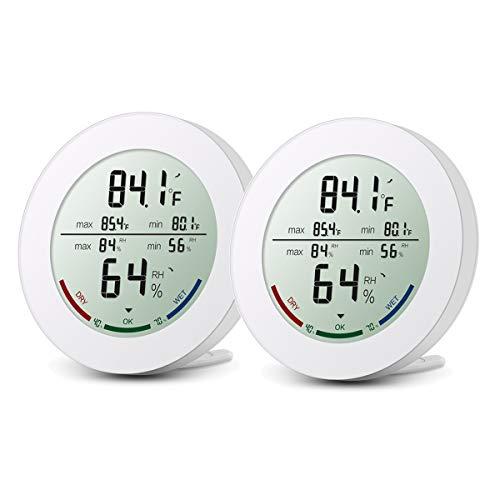 ORIA Thermo-Hygrometer, [2 Pack] Digitale Innen Thermometer, Hygrometer mit MIN MAX Aufzeichnungen, Trendtemperaturänderung, LCD Anzeige, °C/°F Schalter und Komfortanzeige, Ideal für Zuhause, Büro,etc