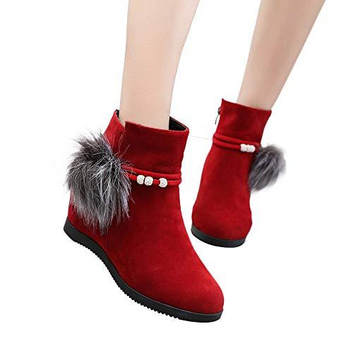 TianWlio Stiefel Frauen Herbst Winter Schuhe Stiefeletten Boots Stiefel Wildleder Damen Wildleder Hairball Runde Zehe Wedges Schuhe Reine Farbe Reißverschluss Schuhe Stiefel