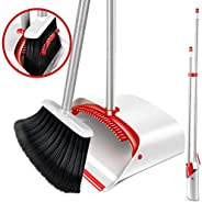 Broom and Dustpan Set Cleaning Supplies Upright Lobby Pan Broom Combo with 130 cm Handle for Home Kitchen Offi