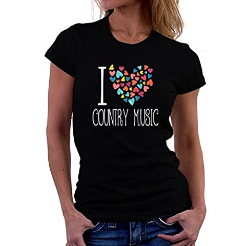 I love Country Music colorful hearts T-Shirt Femme