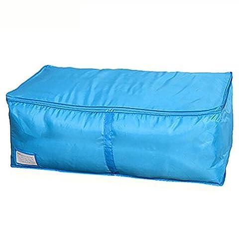 Zhouba Bedclothing Couette oreillers Fermeture Éclair pliable Vêtements Sac de rangement sous lit Boîte à la main Poignées de voyage L bleu
