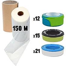 Recharges de poubelle à couches et anti-odeurs universal pas original compatible avec Sangenic, Angelcare et Litière Litter Locker IIavec un traitement antibactérien , inclus le tube en carton pour faciliter la recharge