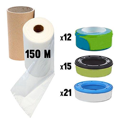 150 m Nachfüllfolie für Sangenic Windeltwister Tommee Tippee, Angelcare und Litter Locker + inklusive Papphülse zum einfacheren Nachfüllen