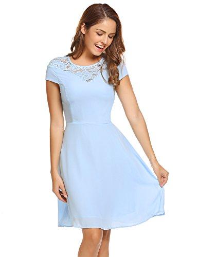 Meaneor Damen Kleid Swing Abendkleid Cocktailkleid Brautkleid Einfarbig Kurzarm A-Linie Kleid mit...
