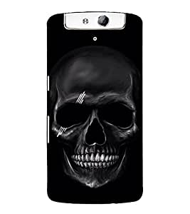 Black Skull 3D Hard Polycarbonate Designer Back Case Cover for Oppo N1