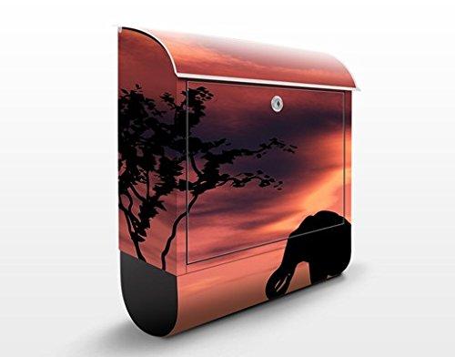 Design Briefkasten African Elephant Family   Afrika Giraffen Zebras, Postkasten mit Zeitungsrolle, Wandbriefkasten, Mailbox, Letterbox, Briefkastenanlage, ()