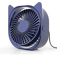Ventiladores USB para Escritorio, Mesa Creativo Eléctrico Ventilador Silencioso Ventilador Dormir Bajo Nivel Ruido, Limpieza Fácil Ventilador Escritorio, 3-Grados Soplado Aire Ajustable