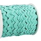 Zackenlitze, gestreift 12 mm / 12 mm, col.2102, mint/weiß, 2m, 100% Polyester