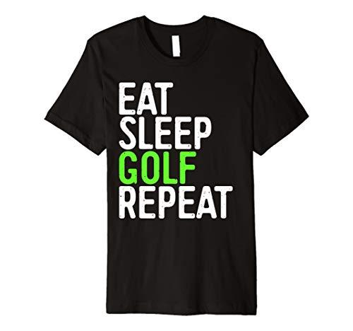 EAT SLEEP GOLF Repeat T-Shirt Funny Sport Spiel Geschenk Shirt