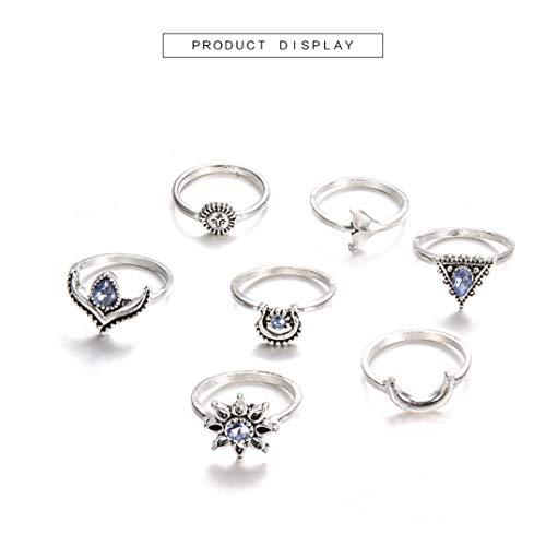 JOOFFF 7 Stück Ring Set Künstliche Saphir Ring Sonne Smiley Dreieck Crescent Verkrustete Ring Böhmischen Vintage Frauen Kristall Joint Fingerringe