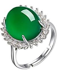 173b2037c77e AIUIN Anillo Estilo de Flor de moda Calcedonia verde ajustable en Plata  para Mujer con anillo