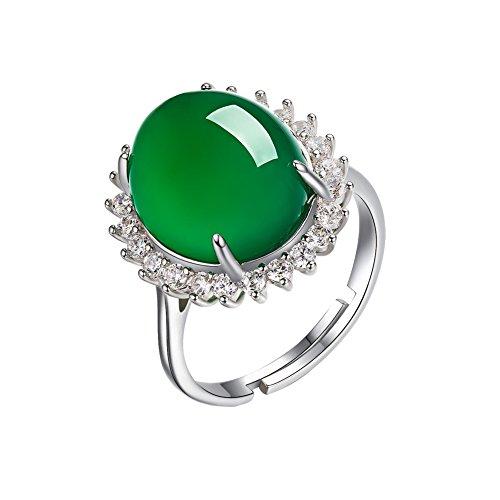 AIUIN Anillo Estilo Flor moda Calcedonia verde ajustable