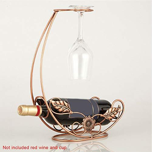 Weinregal zum Aufhängen, Glasdekoration, für Küche im europäischen Stil, Metalleisenhalterung, Ständer für Tisch und Bar Free Size bronze -