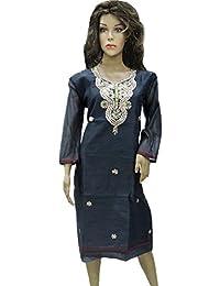 Ratnatraya Cotton Navy Blue Kurti For Women | Party Wear Designer Straight Kurtis For Girls And Gift
