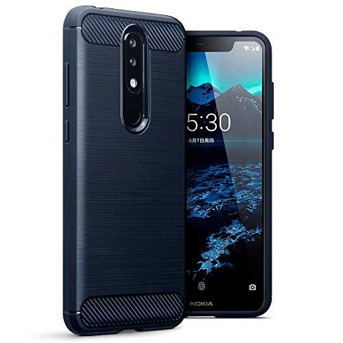 TERRAPIN, Kompatibel mit Nokia 5.1 Plus Hülle, TPU Schutzhülle Tasche Case Cover mit Karbonfaser und Ausgebürstet Dessin - Blau
