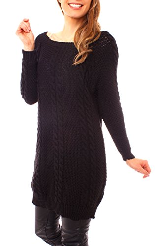 Easy Young Fashion Damen Grobstrick Longpullover Zopfmuster One Size Schwarz
