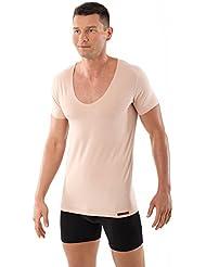 ALBERT KREUZ Camiseta interior invisible manga corta cuello de pico profundo algodón elastico