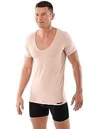 ALBERT KREUZ maillot de corps col v extra profond - invisible - coton stretch - couleur beige chair - manches courtes slimfit