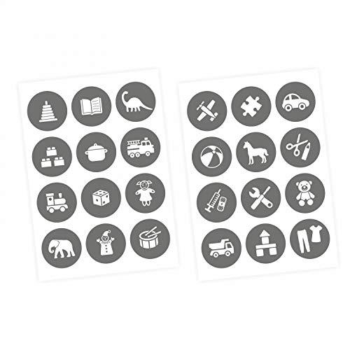 nikima Schönes für Kinder Möbelaufkleber Ordnungssticker für Spielzeug Weiss/GRAU - Möbelfolie Kinderzimmer, Ordnung Lernen, Aufbewahrung, Ordnungssystem