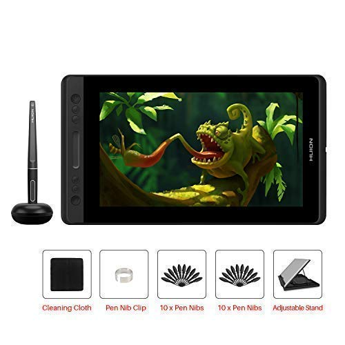 HUION Kamvas PRO 12 HD 11,6 in Tablet-Monitor-Neigungsfunktion unterstützt einen batterielosen Stift mit 8192 Druckstufen und 4 Schnellzugriffstasten 1 Touch Bars-Grafiktablett mit Bildschirm