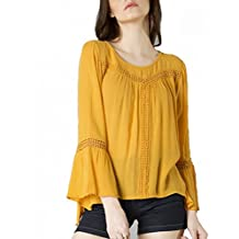 POISON IVY Women's Casual Bell Sleeve Full Sleeve Solid, Lace Women's Mustard Top