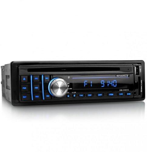 XOMAX XM-CD615 Autoradio mit 3 einstellbaren Beleuchtungsfarben (rot, blau, lila) + CD-Player + USB Anschluss (bis 32 GB) & SD Kartenslot (bis 32 GB) für MP3 und WMA + AUX-IN + Single DIN (1 DIN) Standard Einbaugröße + inkl. Fernbedienung & Einbaurahmen