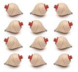 GERILEO Set di 12 Trottole di Legno Classiche - Regali per la Comunione, Bambini, Bambine, Feste di Compleanno, pedina, Paleo, Giocattolo di Legno, Giocattolo, Gioco, Spinner, Spinning