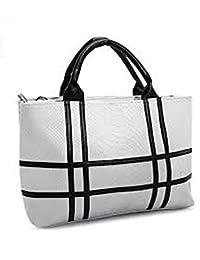 Generic Officewear Women's Casual 34 Ltr Stylish Big Leather Handbag With Black Cross Grey Color