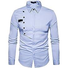 ZODOF Hombre Camisa,Camiseta para Hombre Casual Manga Larga Negocio Ajustado Negocio Botón Formal Slim