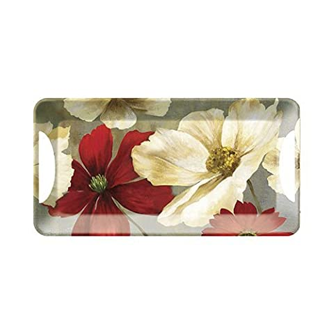 Creative Tops Flower Study Luxury Handled Melamine Serving Tray, Plastic, Red, Small