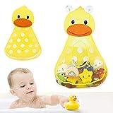 Organisateur de jouets pour le bain pour bébé Forme de canard mignon Sac de rangement en filet avec 2 ventouses pour garder les jouets dans la baignoire