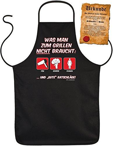 Grill-Schürze Was man zum Grillen nicht braucht BBQ Fun Koch-Schürze geil bedruckt Geschenk-Set mit Grillmeister-Urkunde (In-house-grill)