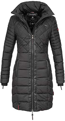 Navahoo Damen Wintermantel Steppmantel Winter Mantel lang Stepp warm Teddyfell B633 [B633-Ronin-Schwarz-Gr.XL]