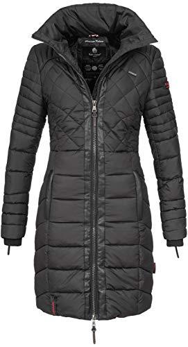 Navahoo Damen Wintermantel Steppmantel Winter Mantel lang Stepp warm Teddyfell B633 [B633-Ronin-Schwarz-Gr.S]