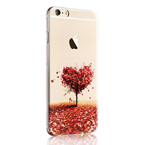 iPhone 6S Plus Case,iPhone 6 Plus Case,Sunroyal Colorful Printing Perfect Fit Pattern Soft TPU Silicone Back Cover Ultra Slim Clear Embossing Matte Landscape Pattern Transparent Exclusive Design Premium Protective Case for iPhone 6 Plus 6S Plus 5.5 inch - Red Heart Tree Pattern