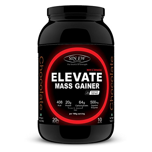 Sinew Nutrition Elevate Mass Gainer with Digestive Enzymes, 1 Kg...
