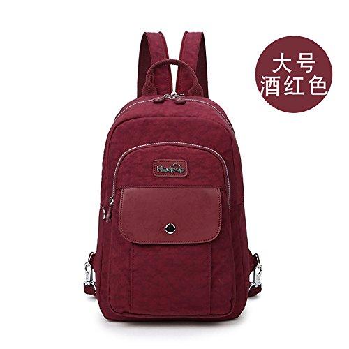 Zazero Mini Double Shoulder Bag Abdichtung Leinwand kleiner Rucksack Freizeit große Kapazität Brust Beutel, Wein rot (Groß) (Weben Wein)
