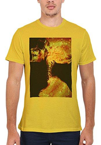 Skeleton Skull Galaxy Space Tumblr Men Women Damen Herren Unisex Top T Shirt Licht Gelb