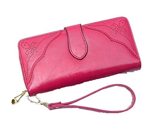 PACK Dame Two Fold Wallet Leder Griff Tasche Korean Version Long Abschnitt Reißverschluss Retro Multi-Karte Einfache Brieftasche,E:RoseRed (Wallet Fold Damen Two)