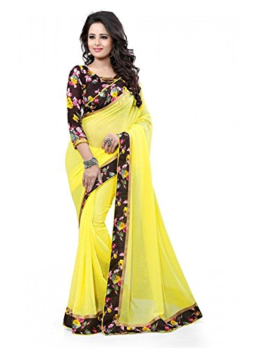 Modential Women's Yellow Color Georgette Saree With Lace Border And Printed Blouse...