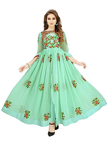 RTHub Women\'s Georgette Embroidered Semi Stitched Anarkali Salwar Suit (Sky-Blue_Free-Size_Aone-Sky-Blue)