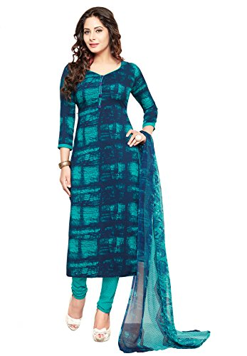 Salwar Studio Women's Blue & Green Cotton Self Printed Dress Material with...