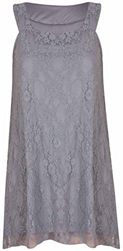 femmes neuf sans manches extensible dentelle florale Col Rond femmes doublé ourlet asymétrique grande taille Gilet long robe Gris